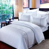 Luxury 100% coton blanc 300t Jacquard Ensemble de literie blanche de l'hôtel à plat drap de lit fixe