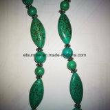 Moda joyería semi preciosa de piedra natural de la turquesa cuentas collar de cristal