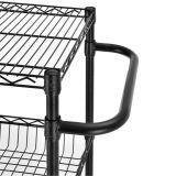 Comercial de epóxi Preto Arame de aço pesado Carrinho de prateleiras