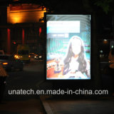 El movimiento en sentido vertical doble al aire libre de poste de la calle secundaria que hace publicidad del bulbo de la tira de la iluminación de la imagen LED encajona Mupis
