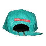 El cuero lleno de encargo bordó Snapback del sombrero de los 5 paneles