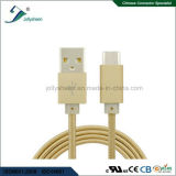 Taper le mâle de C au câble mobile d'USB2.0 a/M avec la tresse de tête et d'or de Matel