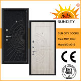 Sicherheit Front Metal PVC Film Door MDF-Wooden mit Frame (SC-A212)