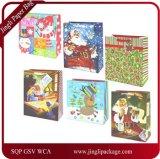 Prenda de Natal artesanais sacos de papel direto da fábrica, sacos de presentes de Natal com cintilantes e folhas carimbos