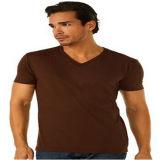 En coton peigné Mens Short Sleeve T-shirt col V