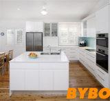 Gabinete branco lustroso elevado moderno personalizado do revestimento da laca (BY-L-66)