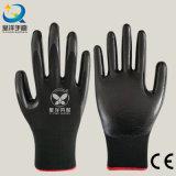 les nitriles en nylon de noir de la doublure 13gauge ont enduit les gants de travail de sûreté (N6002)