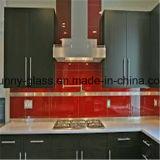 Rojo decorado de vidrio pintado para la cocina