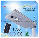 IP65 긴 수명 10W는 옥외를 위한 태양 가로등을 점화하는 1개의 LED 정원에서 모두를 통합했다