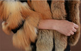 2014枚の冬の暖かい女性の媒体長い本物Foxの毛皮のコート