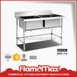 Stainless Steel Kitchen Doubles Sink Table (HSD-712)