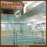 ガラススタンドオフ(SJ-X1107)が付いているプレハブの二重キールL形のガラス柵のステアケース