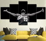 組み立てられた芸術5のパネルプリントキャンバスNBAの芸術映像の壁の芸術のホーム装飾的なマイアミの熱のLebronジェームスのバスケットボールプリント油絵