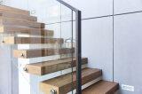 Escalera de cristal de madera de madera sólida de la barandilla/del pasamano del diseño moderno
