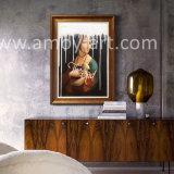 Ermineのハンドメイドの油絵を持つLeonardo Da Vinciの女性の再生