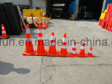 Cône en plastique de circulation de PE de sûreté avec la base en caoutchouc