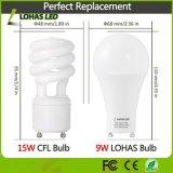 Lampe de Gu24 DEL 60 ampoule chaude équivalente d'éclairage LED du blanc 2700K de watt (9W) pour l'éclairage à la maison