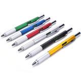 レベルおよびスクリュードライバーのペンが付いている1本のアルミニウム多機能のツールのペンに付き6本