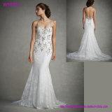 Горячее сексуальное белое платье венчания 2017 Mermaid Applique шнурка Sequin