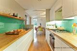 青緑の染められたガラス台所Splashbackおよびカウンタートップ