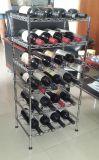 Fabricante barato del estante del estante de visualización del vino del whisky del metal del cromo del precio DIY
