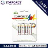 Batería larga de la vida de servicio del níquel de AA/Hr6 1900mAh del hidruro recargable del metal con el Ce para el juguete