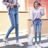 Uitstekende kwaliteit Gebroken Wassende Dame Jeans met Speciale Boord Buttom (HDLJ0026-17)