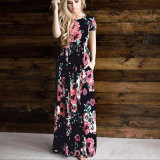 Neues Modell plus Größen-Kurzschluss-Hülsen-Sommer-Maxi Frauen-Kleid