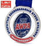Медаль сувенира спорта серебра плакировкой горячего штемпеля конструкции клиента сбывания дешевого чувствительное изготовленный на заказ круглое с тесемкой