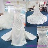 Corpete de Pleasts da fábrica de China e Backless Strapless uma linha vestido de casamento