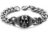 316L roestvrij staal 24mm de PunkJuwelen van de Fietser van de Armband van het Spook van de Armband van de Schedel van het Skelet van Reusachtige Zware Stevige Zilveren Mensen