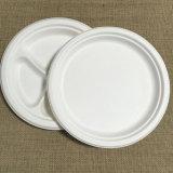 piatto rotondo della polpa concimabile della bagassa dello scompartimento 10inch tre