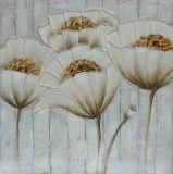 Artes hechos a mano puros de la pared de la pintura con el corazón de la flor de Glod
