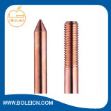 Duas extremidade rosqueada da haste de massa de aço revestido de cobre
