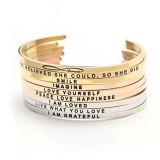 Armband van het Manchet van de Douane van vrouwen de Open, Gepersonaliseerde Gegraveerde Armband