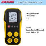 Longue durée de vie portable Multi 2 détecteur de gaz analyseur de CO2 O2 avec capteur de CO2 infrarouge