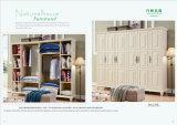 Double/simple bâti de chambre à coucher de meubles de se plier blanc antique en bois solide