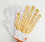 Wit pvc stippelde de Gebreide Katoenen Werkende Handschoenen van de Veiligheid