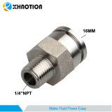 """Acier inoxydable de Xhnotion ajustant 16mm x 1/4 """" connecteur droit mâle en métal fait sur commande de TNP"""