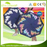 Paraguas plegable cambiante de la impresión del color de encargo barato del diseño para el adulto