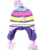 Do inverno acrílico preto de Kntted da fábrica tampão Slouchy personalizado produto do Beanie do esqui