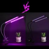 18W Dual Head Amplio espectro de luz LED regulable crecer con cuello de cisne de 360 grados