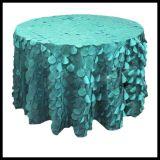 결혼식을%s 둥근 상아빛 색깔 3D에 의하여 물결이 일게하는 호박단 웨이퍼 모양 테이블 피복