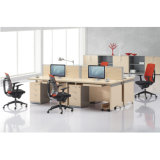 Tipo sitio de trabajo modular de la tarjeta de Melaminet del diseño moderno para 4 personales