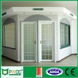 Puerta de aluminio del marco del buen precio de Pnoc080228ls con diseño de la parrilla