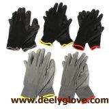 Gants noirs enduits de protection de polyester de paume noire d'unité centrale