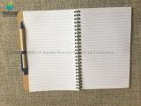 Taccuino a spirale personalizzato di ordine del giorno poco costoso del Hardcover A5 dell'ufficio con la penna di marchio