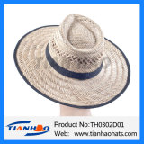 Chapéu largo de Sun da palha da grama da cavidade do vaqueiro da borda da forma