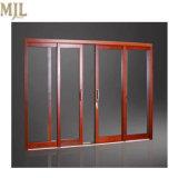 Portelli scorrevoli di legno placcati di alluminio lustrati principali di vendita calda doppi