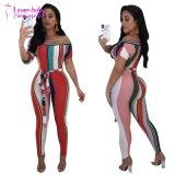 La mujer la moda verano fuera de la impresión de hombro Playsuits